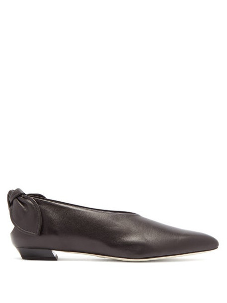 Proenza Schouler - Knot-heel Leather Flats - Womens - Black