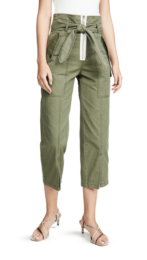 Marissa Webb Reid Herringbone Canvas Pants in green
