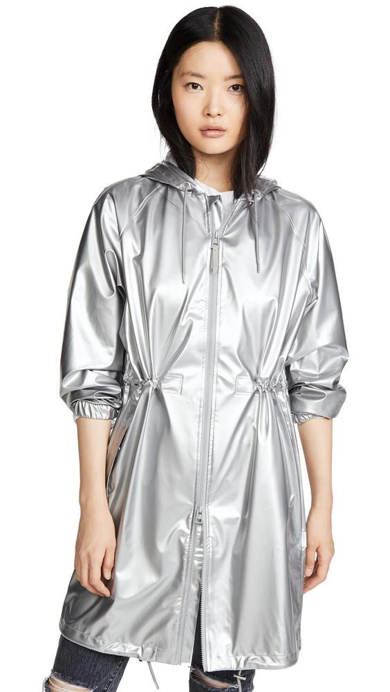 Rains Long Rain Jacket in silver