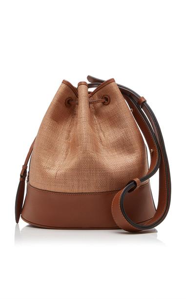 Hunting Season Leather-Paneled Raffia Shoulder Bag