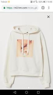 sweater,h&m,ariana grande,beige,beige sweater