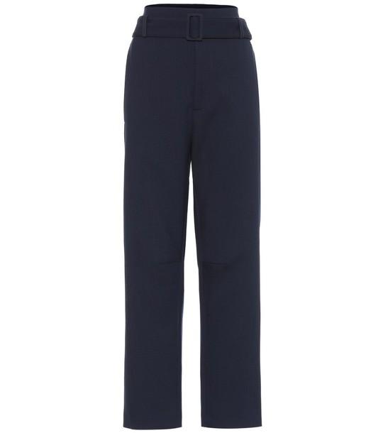 MM6 Maison Margiela High-rise stretch wool-blend pants in blue