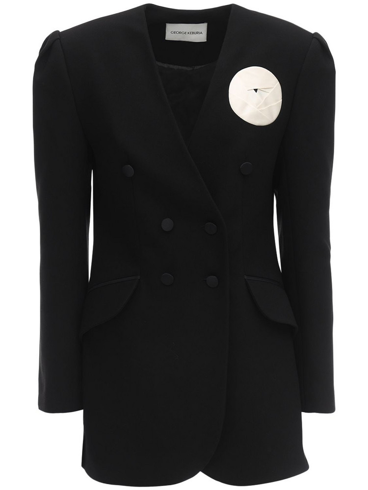 GEORGE KEBURIA Rose Embellished Crepe Jacket in black