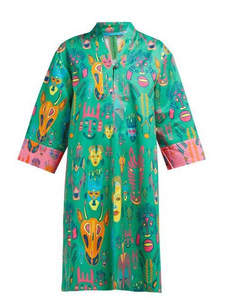 Rianna + Nina Rianna + Nina - Emmi Mask Print Cotton Twill Dress - Womens - Green Multi