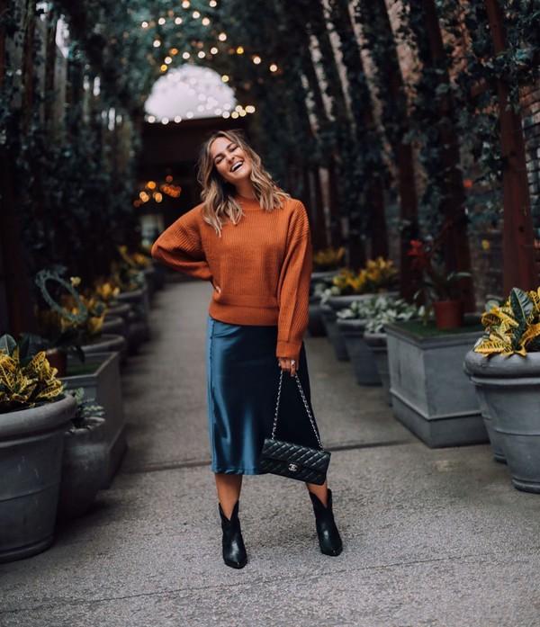 skirt midi skirt ankle boots black boots black bag chanel bag sweater