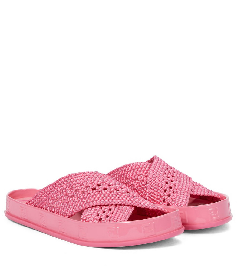 Fendi Woven sandals in pink