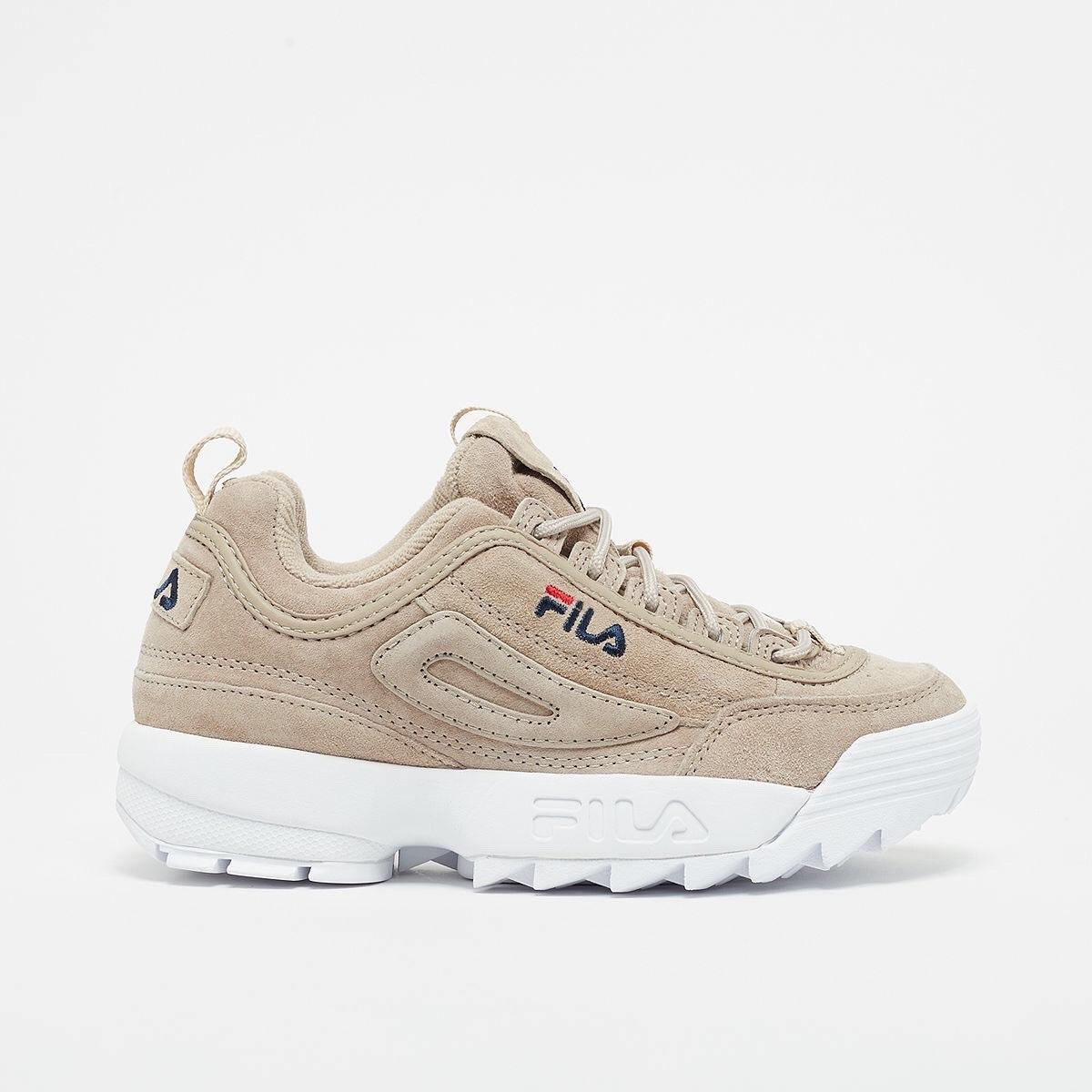 shoes beige suede fila sneakers