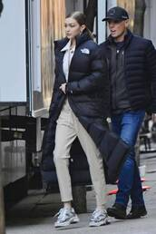 coat,gigi hadid,winter jacket,pants