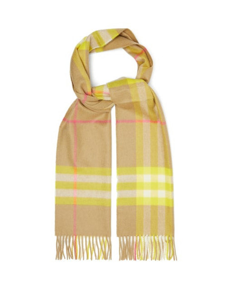 Burberry - Checked Cashmere Scarf - Womens - Yellow Multi