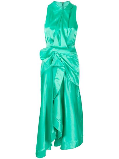 Acler Millbank draped sleeveless dress in green