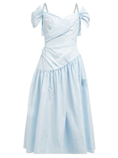 Simone Rocha - Sweetheart Neckline Taffeta Midi Dress - Womens - Blue