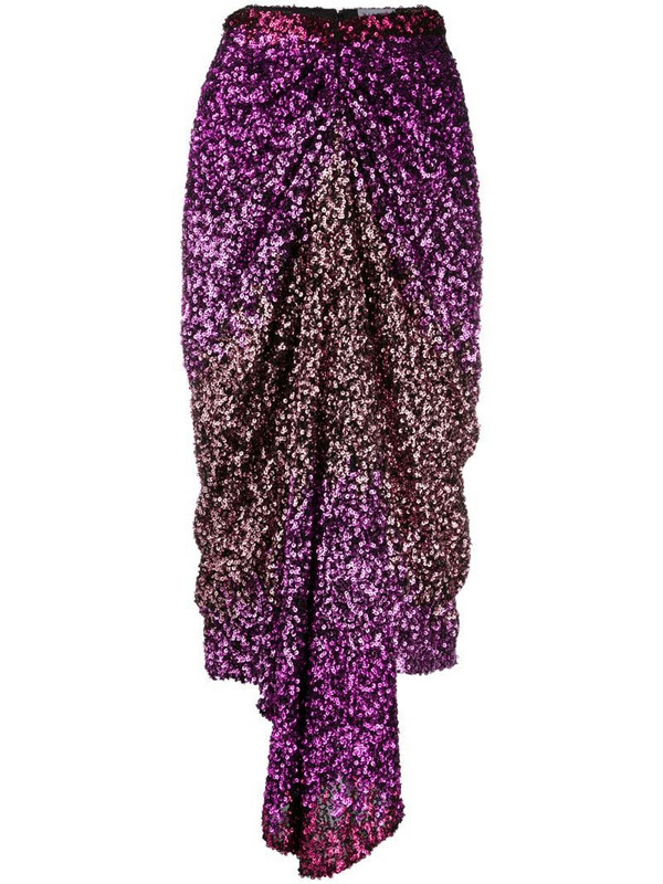 Halpern sequin-embellished draped midi skirt in pink