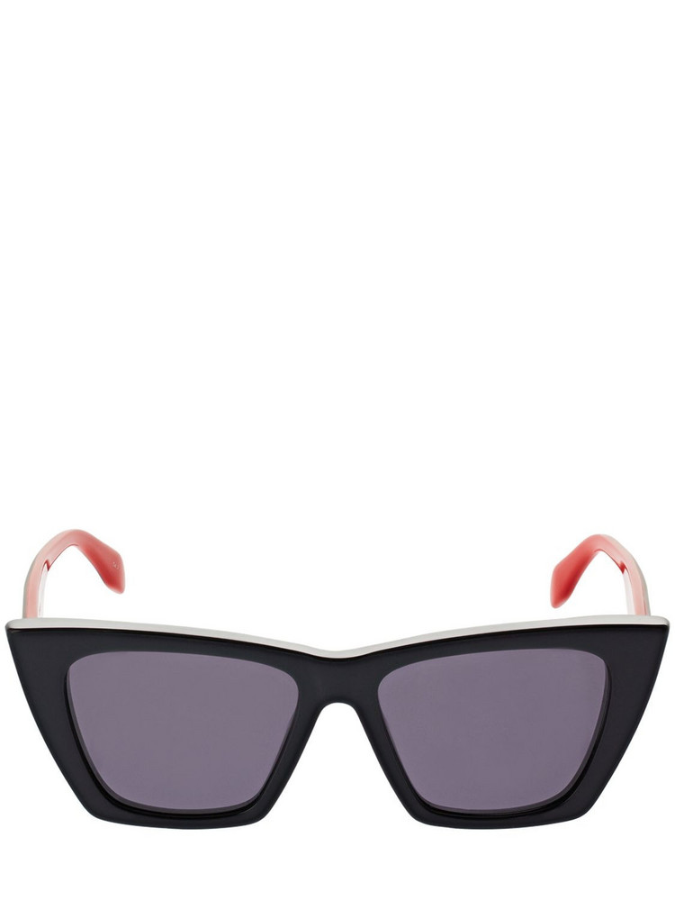 ALEXANDER MCQUEEN Selvedge Cat-eye Acetate Sunglasses in black / grey / red