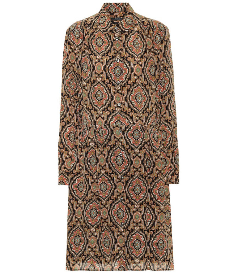 A.P.C. Printed silk shirt dress in brown