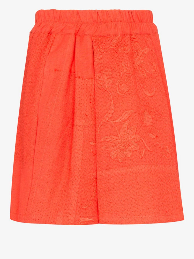 By Walid narmin embroidered cotton shorts in orange