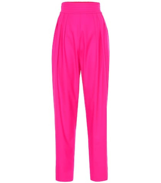 Attico High-rise wool-blend pants in pink