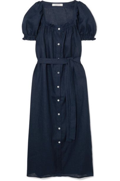 Sleeper - Brigitte Belted Linen Midi Dress - Navy