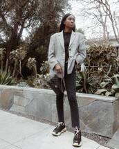 jeans,black jeans,high waisted jeans,black sneakers,black bag,chanel,plaid blazer,black top