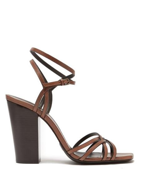 Saint Laurent - Oak 100mm Block Heel Strappy Leather Sandals - Womens - Tan