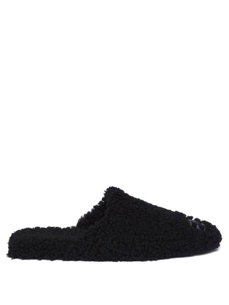 Balenciaga - Cosy Bb-plaque Shearling Backless Loafers - Womens - Black
