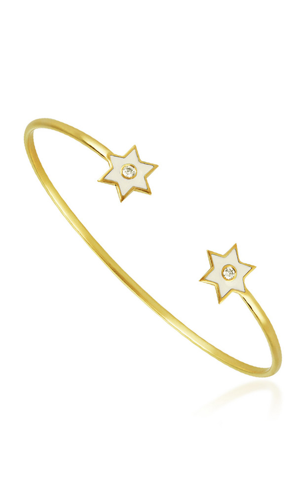 Amrapali 6 Point Star 18K Yellow-Gold and Diamond Cuff Bracelet in white