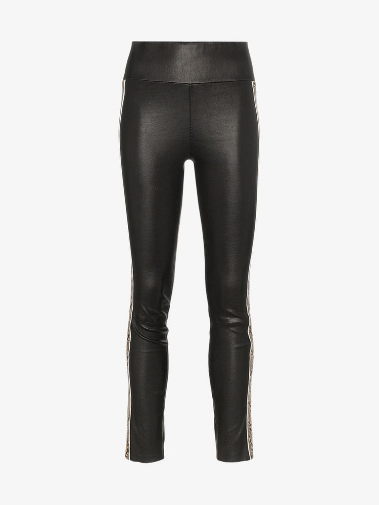 Sprwmn high-waisted leather snake detail trousers in black