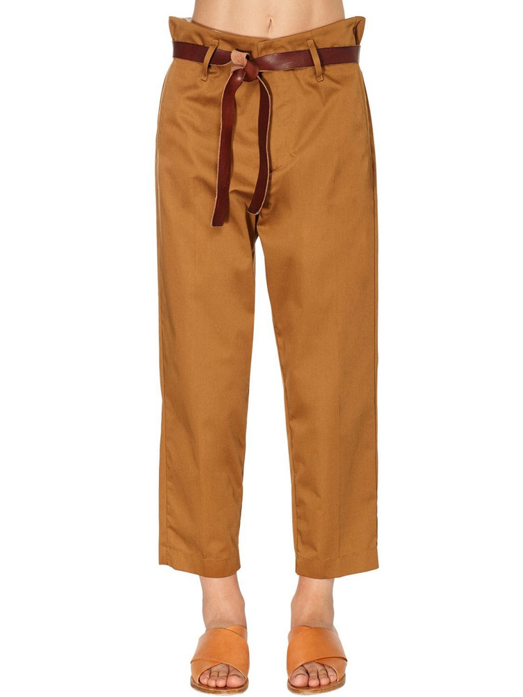 FORTE FORTE High Waist Cotton Twill Pants in brown