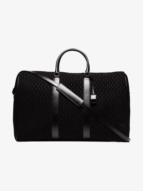 Saint Laurent black logo print leather duffle bag