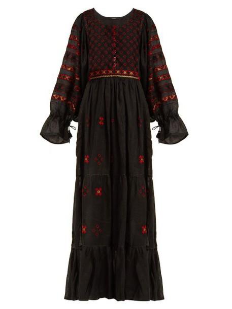 Vita Kin - Geometric Embroidered Linen Dress - Womens - Black Multi