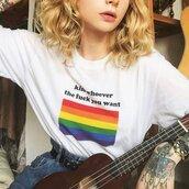 top,feminism,feminist t shirt,feminist,rainbow