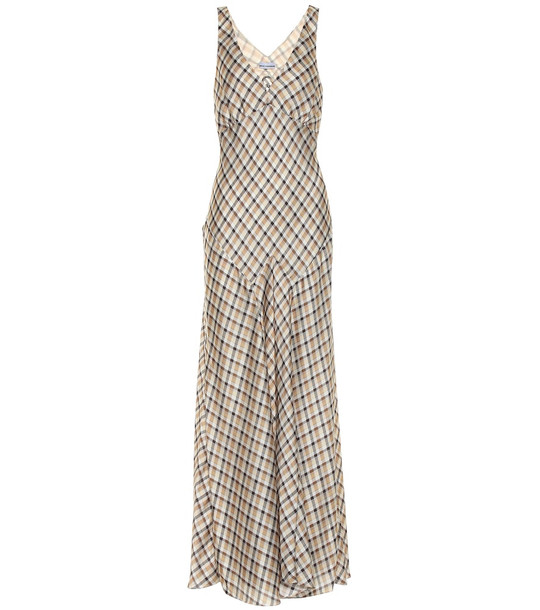 Paco Rabanne Checked satin dress in beige