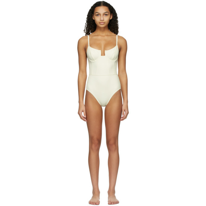 Solid and Striped Off-White The Veronica One-Piece Swimsuit in cream