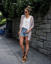 sweater,cardigan,platform sandals,denim shorts,white top,tank top