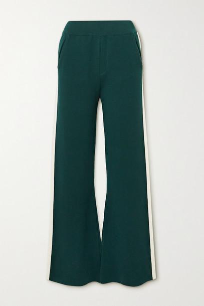 CORDOVA - Striped Merino Wool-blend Bootcut Track Pants - Green