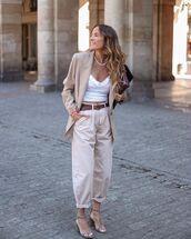 pants,high waisted pants,blazer,sandal heels,white top,bag