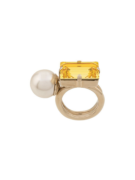 Dries Van Noten Pearl Crystal Embellished Ring in yellow