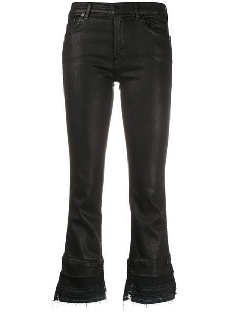 7 For All Mankind cropped kick flare jeans in black
