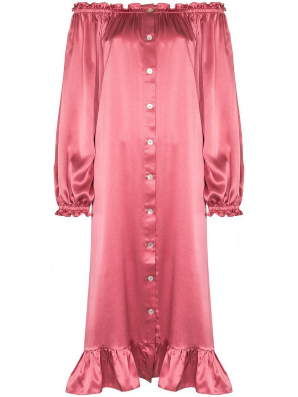 Sleeper silk satin loungewear dress in pink