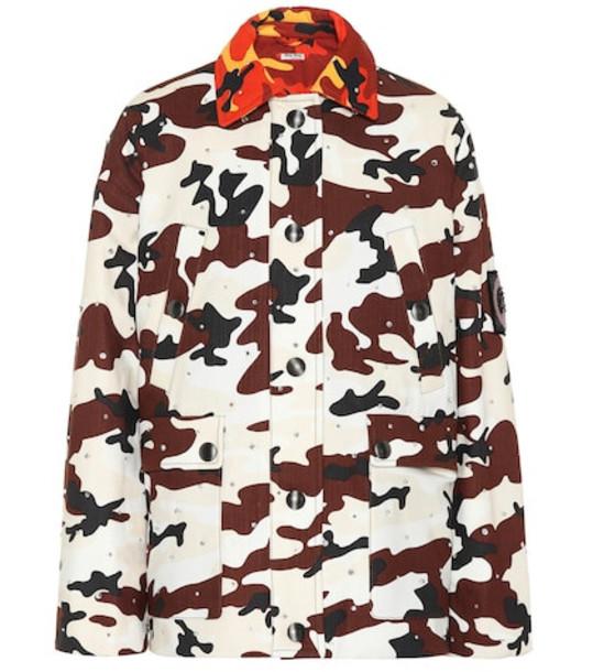 Miu Miu Embellished printed denim jacket in brown