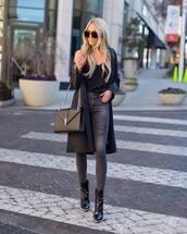bag,ysl bag,black boots,ankle boots,patent boots,black bag,grey jeans,ripped jeans,black coat,long coat,black blouse