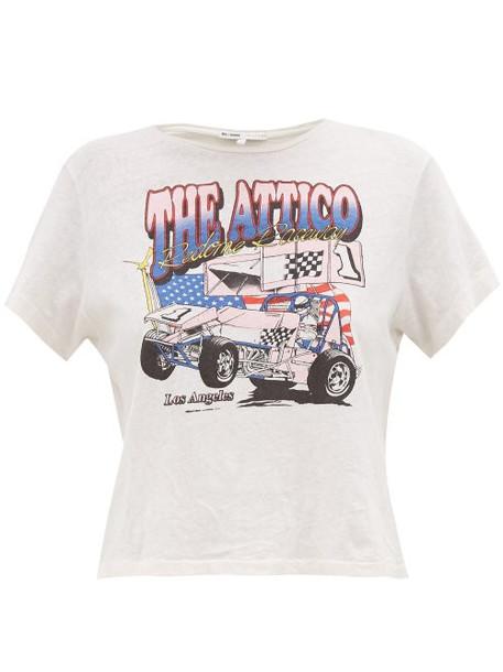 Re/done Originals - X The Attico Logo Print Cotton T Shirt - Womens - White Multi