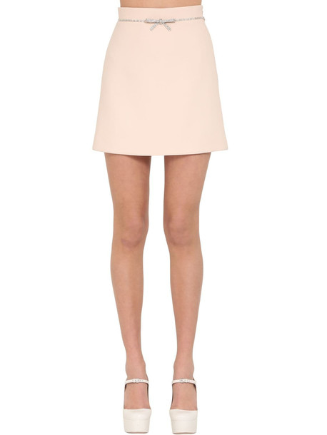 MIU MIU Cady Mini Skirt W/ Crystal Belt