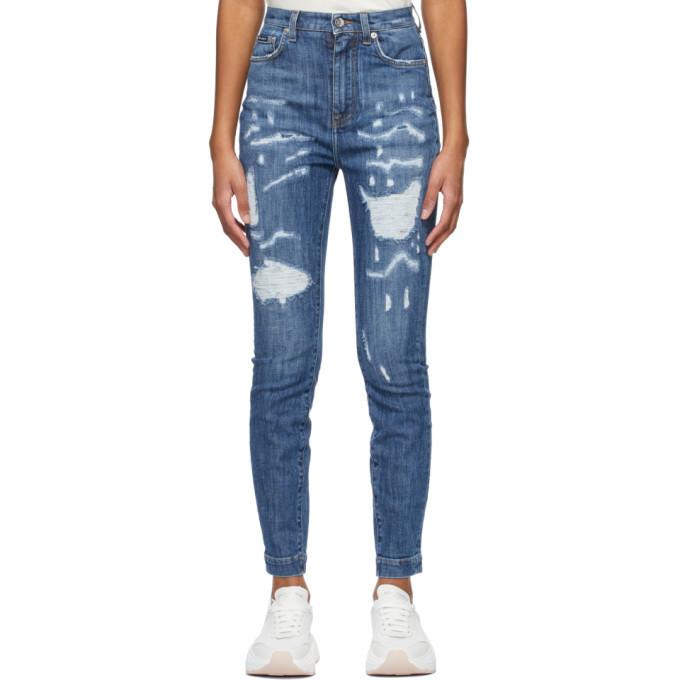 Dolce and Gabbana Blue Skinny Jeans in denim / denim
