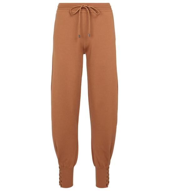 Chloé Wool and silk-blend sweatpants in brown