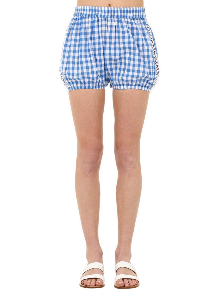 DODO BAR OR Checked Cotton & Lace Shorts in blue