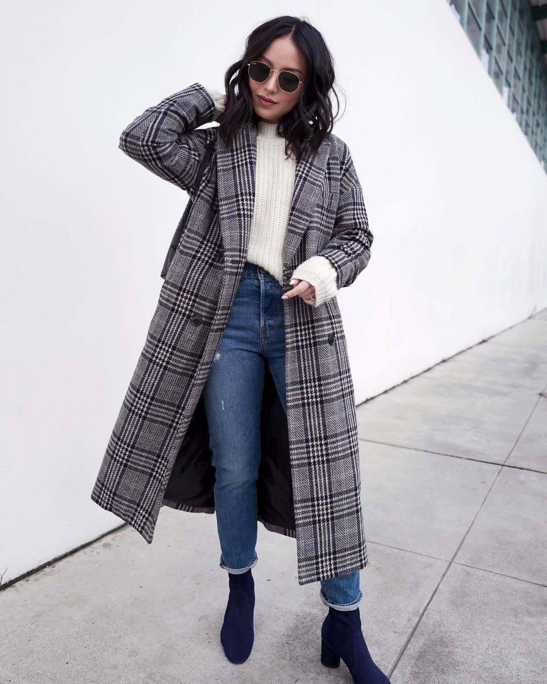 coat grey coat plaid madewell ankle boots heel boots high waisted jeans levi's white sweater