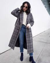 coat,grey coat,plaid,madewell,ankle boots,heel boots,high waisted jeans,levi's,white sweater