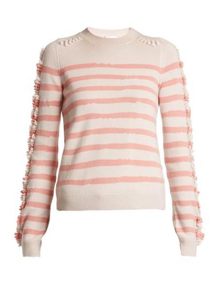 Barrie - Stripe Loop Stitch Knit Cashmere Sweater - Womens - Pink Stripe
