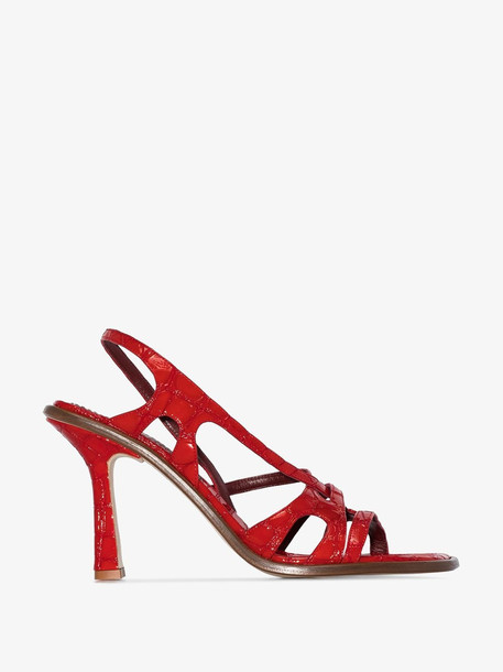 Sies Marjan red mock croc 90 patent leather sandals