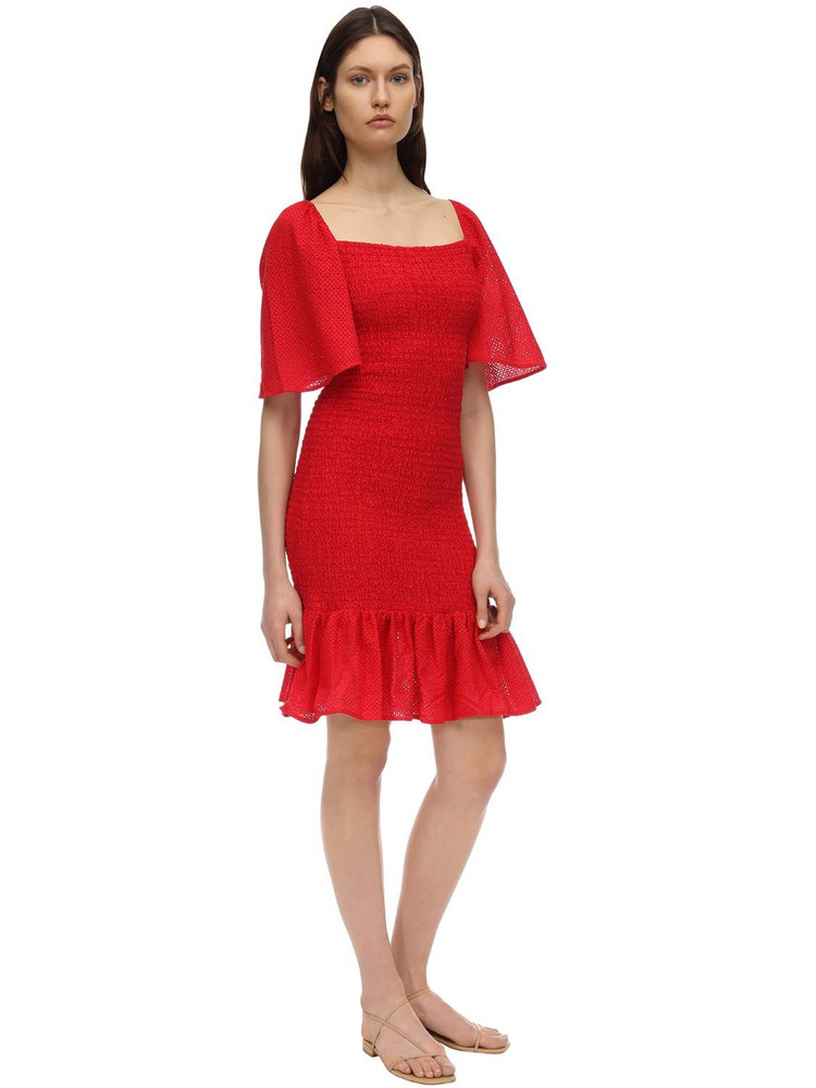 MARYSIA Smocked Cotton Dress in red